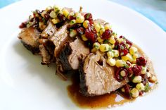 Cranberry Brisket by What Jew Wanna Eat (braised, kosher, cranberry, corn, meat, Hanukkah, Rosh Hashanah, recipes, brisket, salsa, gravy) // CREATIVE LIFE ANTICS ROUNDUP