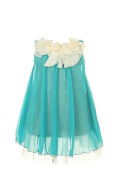 Meidx 7 Colors Girls 214 Soft Flowy Chiffon wIvory Pageant Flower Girl Party Princess Dresses Turquoise size 14 >>> Read more reviews of the product by visiting the link on the image.