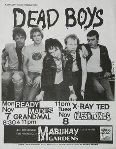 Dead Boys, Readymades, X-Ray Ted, Fleshtones, offset litho flyer for two Mabuhay Gardens dates, November 1977