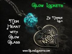 Mothers Day Mom Heart Glow Glass Necklace