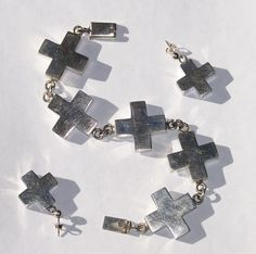 Taxco Dimensional Modernist Sterling Silver Cross Bracelet Earring Set  49.1 grams from Cousins Antiques on Ruby Lane LOVE this set!