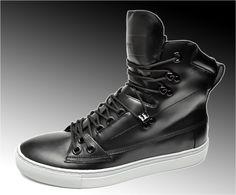 HUGO BOSS Black Leather High Top Sneakers