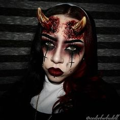 Tattoo demonic girl sexy nun straight razor lips