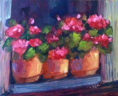 """Three Geraniums"" original fine art by Libby Anderson"