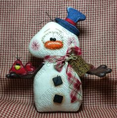 Snowman Crafts, Christmas Crafts, Christmas Ornaments, Primitive Doll Patterns, Arte Popular, Pattern Paper, Fiber Art, Primitives, Wool Felt