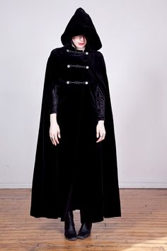 80s black velvet cloak with hood & braided by darklandsvintage, $98.00