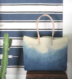 Indigo Dyed Mountain Range Tote Bag | This tote captures the serene landscape of a foggy morning in ... | Tote Handbags