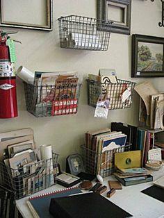 Home Office Organization Diy Dollar Stores Wire Baskets Ideas Wall Storage, Kitchen Storage, Storage Baskets, Storage Ideas, Cheap Baskets, Magnetic Storage, Basket Shelves, Craft Storage, Bedroom Storage