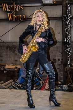 Woman playing saxophone in thigh boots Thigh High Boots, High Heel Boots, Over The Knee Boots, Shoe Boots, Ankle Boots, Crotch Boots, High Leather Boots, Stiletto Boots, Thigh Highs