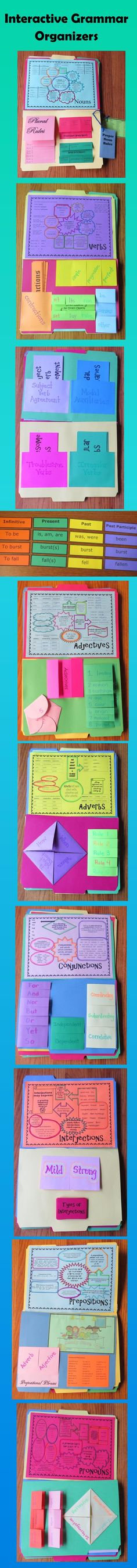 Interactive Grammar Organizers make a great lap book! Organizers may also be used in an interactive notebook. $