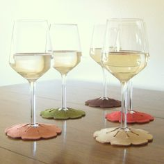 Hibiscus-shaped stay-on coasters with varied colors to remember which glass is yours.