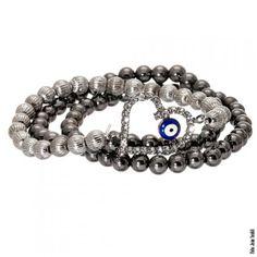 Mix de pulseiras com pingente de coração, cristais e olho grego em rhodium