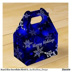 Royal Blue Snowflake Motif Gable Favor Box Holiday Parties, Holiday Cards, Christmas Cards, Christmas Favors, Christmas Card Holders, Vinyl Lettering, Favor Boxes, Party Printables, Hand Sanitizer