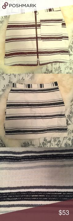 High Waisted TOPSHOP Mini Skirt High waisted TOPSHOP textured mini skirt. Zip front and cute front pocket. Worn twice in great condition. Off-white/beige/black/Grey/light Grey/freakin cute. Size US 4 UK 8. Let those stems see some sunshine this Spring! 🌷 open to reasonable offers. 🚫I'm sorry, not trading at this time. Just trying to clean out my closet❤️ Topshop Skirts Mini
