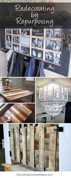 Redecorating by Repurposing • Lots of Ideas and Tutorials! Love the gate made from pallet wood