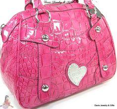 Guess G Logo Purse Satchel Hand Bag Pink Crocodile Patent Oceanfront