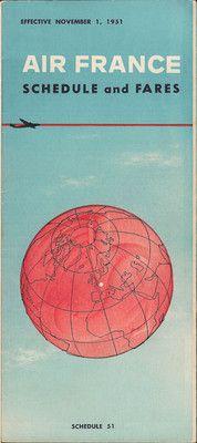 Air France timetable 11/1/51