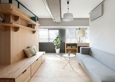 Modern apartment renovation with an L-shaped wood wall - With a total living area of 64 square meters, this apartment is located in Yokohama, Japan, is not j. Apartment Renovation, Apartment Interior Design, Decor Interior Design, Urban Apartment, Design Bedroom, Casa Muji, Muji Home, Japanese Apartment, Japanese Interior Design