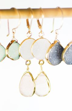 Kalala earrings - pink druzy gold earring, www.kealohajewelry.etsy.com Maui Hawaii