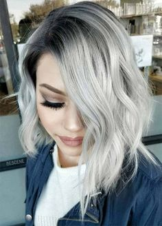 Are you looking for ombre hair color for grey silver? See our collection full of ombre hair color for grey silver and get inspired! Grey Blonde Hair, Silver Grey Hair, Silver Blonde, Short Silver Hair, Silver Hair Styles, Grey Hair Bob, Ombre Silver Hair, Grey Hair Dark Roots, Black Hair
