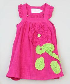 Look at this #zulilyfind! Hot Pink Flower Dress - Infant, Toddler & Girls #zulilyfinds