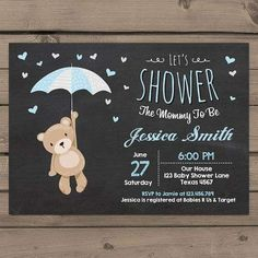 Shop Baby Shower Teddy Bear Invitation Baby Boy Blue created by Anietillustration. Personalize it with photos & text or purchase as is! Peanut Baby Shower, Baby Shower Niño, Teddy Bear Baby Shower, Baby Showers, Tarjetas Baby Shower Niña, Invitaciones Baby Shower Niña, Custom Baby Shower Invitations, Baby Shower Invitation Cards, Invitation Ideas