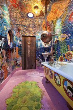 Over the top hippie bathroom + Beatles' Yellow Submarine Bath!