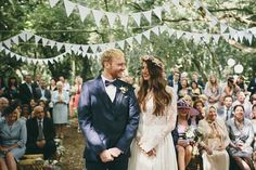 Looking to throw a Bohemian wedding party? Here are 10 Bohemian wedding ideas you'll love, everything from hairpieces to invites to decor. Your Bohemian wedding is guaranteed to be a beautiful boho chic bash! Forest Wedding Decorations, Tent Decorations, Woodland Wedding, Decor Wedding, Fabric Garland, Bunting Garland, Bunting Flags, Pennant Banners, Fabric Bunting