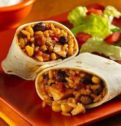 Chicken Burritos: Chicken helper, chicken, black beans, mexicorn, tortillas.