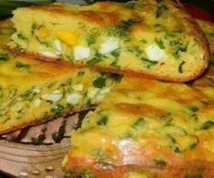 Delicious, healthy cake with eggs and green onion can bring to the table. Pune, Snack Recipes, Snacks, Healthy Cake, Boiled Eggs, Salmon Burgers, Baked Potato, Quiche, Mozzarella