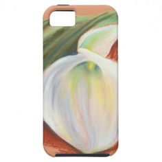 Calla Lily and Leaf iPhone 5 Case ~   This graceful calla lily blossom set against a single green leaf is rendered in soft pastel on a warm orange paper.