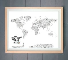 Video Game Controllers World Map ART PRINT (made with Video Game Controllers) 16x20 inches (41 X 51 cm). $24.00, via Etsy.