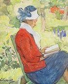 Elsa Backlund Celsing, Läsande kvinna i trädgård