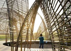 Forest Pavilion | nArchitects used a series of parabolic arches to erect the inspiring Da Nong Da Fu Forest Park in Taiwan, which is designed to generate awareness of the threatened Da Nong Da Fu Forest. Made from freshly-cut bamboo and unveiled at a recent art festival organized by Taiwan's Forestry Bureau, the pavilion provides all kinds of light and shade, along with a little nighttime entertainment.