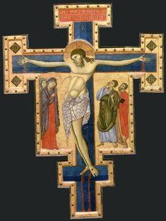 Maestro di San Francesco - Croce dipinta (del Louvre) - croce sagomata dipinta a tempera e oro su tavola - 1260 circa - Museo del Louvre di Parigi.
