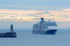 Holland America Line's Eurodam entering the Port of Tyne - one of the greatest landing approaches I know, with Tynemouth Priory and Collingwood's statutes