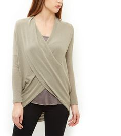 Loving This Stone Cowl Neck Wrap Front Top  | New Look