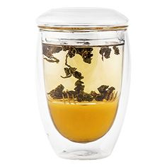 Double Wall Tea Cup with Glass Infuser and Lid - Hands Safe Tumbler Keeps Beverages Hot or Cold - Enjoy the Flavor of Your Drinks in Crystal Clear Borosilicate Glass Without Metal or Silicone Taste - Simple Design is a Breeze to Clean - Perfect Teacup for Brewing Fine Loose Leaf Teas - 10 oz