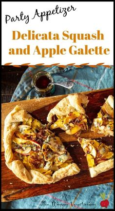 This addictive delicata squash and apple galette appetizer is quick to prep, and perfect for any par Fall Appetizers, Vegetarian Appetizers, Appetizer Recipes, Vegetarian Recipes, Dessert Recipes, Meat Appetizers, Dessert Ideas, Delicata Squash Recipe, Apple Galette