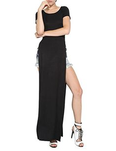 34ba14611f7 Azkara Women s Long Tshirt Double Deep Side Split Slit Maxi Dress (Medium