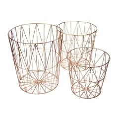 Metal Baskets with Intricate Wired Design and Tapered Bottom, Set of Three, Rose Gold, Benzara