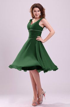 Hunter Green Bridesmaid Dress - Cute A-line Sleeveless Chiffon Knee Length Short Ruching