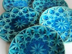 "Dishes, ""Edelweiss"" series 2016 (white clay, teal blue glaze). Ceramics by Studio Saskia Lauth / France - www.saskia-lauth.com"