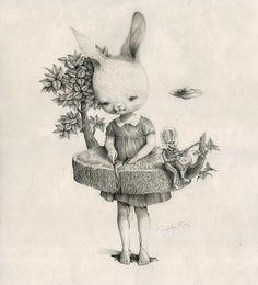 Smitten over the dreamy illustrative work of @dwiantonoroby  .  .  .  #beautifulbizarremagazine #contemporaryart #bunny #alien #robydwiantono #illustration