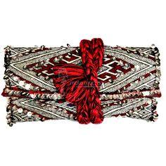 Pochette en Kilim Ancien brun blanc rouge a tresse