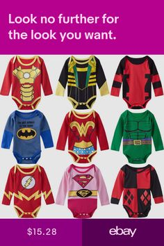 429c087a9044f Baby Costumes Superhero Infant Boys Girls Rompers Tollder Outfit ...