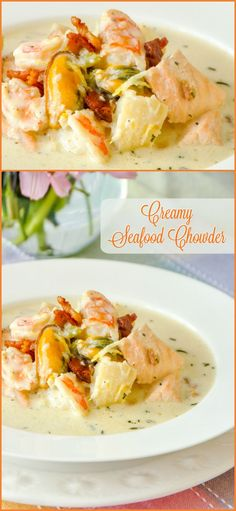 Creamy Seafood Chowder. A feast of delicious fish and seafood in a beautifully seasoned creamy broth. Makes for an elegant lunch served with fresh baguette or as in small portions as an outstanding starter course at a dinner party.
