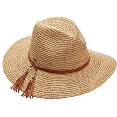 Scala Crochet Raffia Rancher Hat ($98) ❤ liked on Polyvore featuring accessories, hats, swimwear, raffia cowboy hat, western style hats, brown hat, brown cowgirl hat and cowboy hat