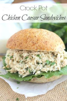 These easy Crock Pot Chicken Caesar Sandwiches are a snap to make! A quick, easy, healthy dinner that'll have the whole family asking for seconds! ~ from Two Healthy Kitchens at www.TwoHealthyKitchens.com