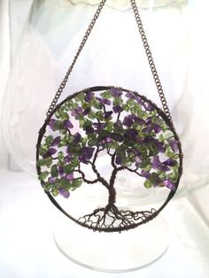 Sun Catcher Tree of Life - Amethyst and Peridot on Bronze Wire Wrapped Tree - Window Wall Ornament Handmade Gemstones